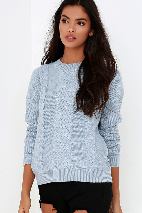light blue knitted sweater outfit