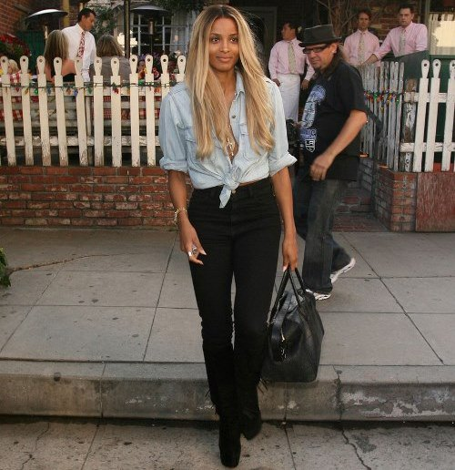 light blue chambray shirt with black jeans with a high waist