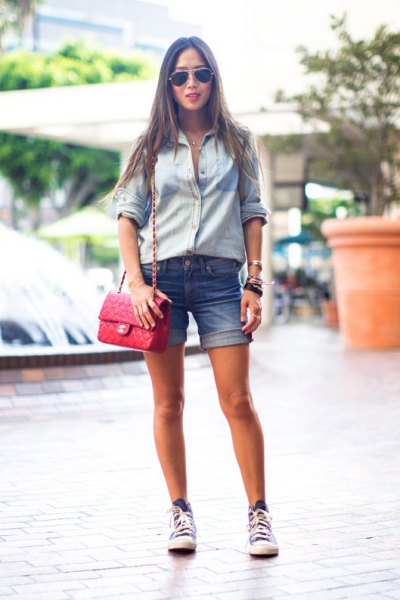 Light blue chambray shirt with tied denim summer shorts