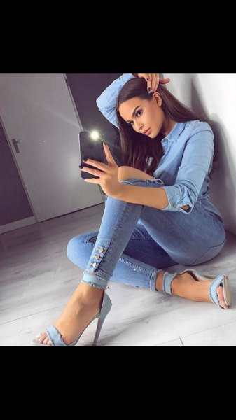 Light blue chambray shirt with denim heels and an open toe strap