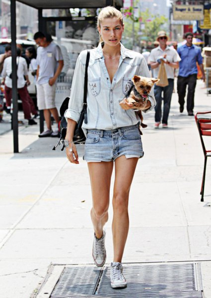 light blue chambray shirt with denim shorts