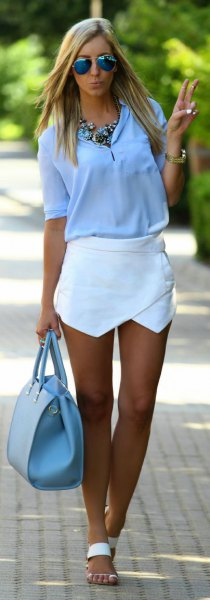 light blue chiffon shirt with white mini skirt and sandals