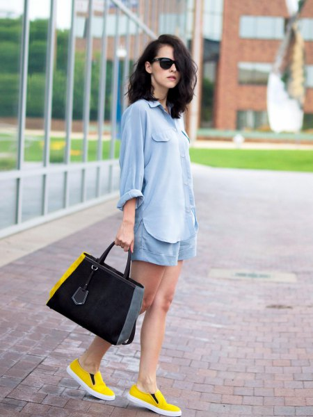 Light blue cotton buttoned shirt with matching flowing shorts and yellow shoes