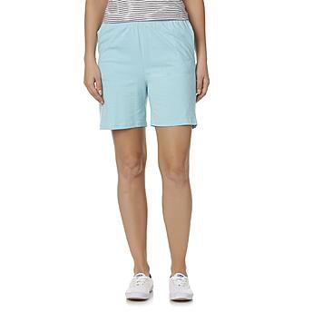 light blue cotton shorts with a striped tank top