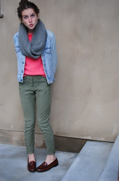 light blue denim jacket with pink sweater and infinity scarf