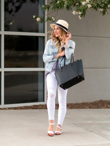 light blue denim jacket with white skinny jeans and a straw hat