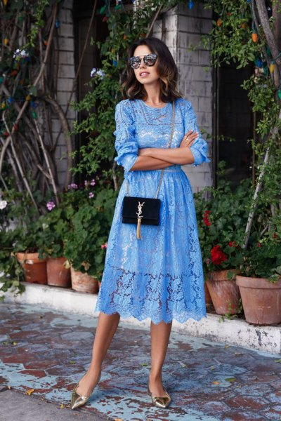 Light blue midi dress with lace and flared lace and silver metallic heels