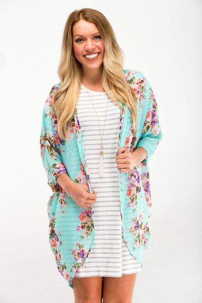light blue floral cardigan gray and white striped t-shirt dress