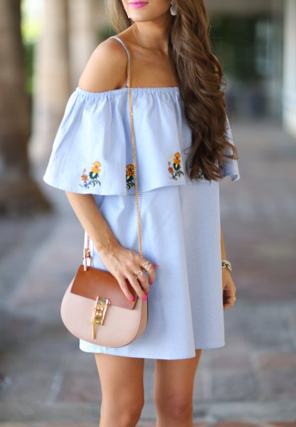 light blue, floral embroidered shift dress with pink wallet