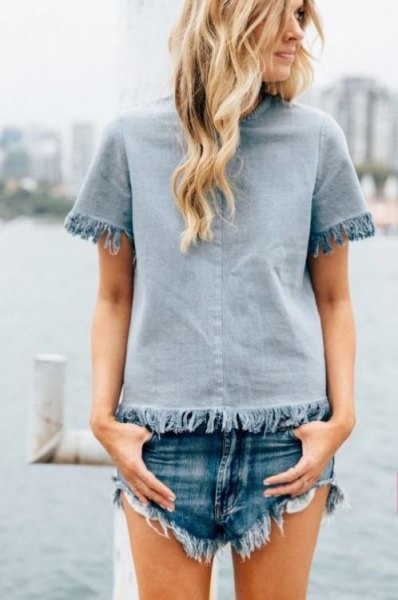 Light blue fringed top with matching denim shorts