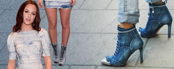 Light blue, half-sleeved, figure-hugging mini dress with jeans lace-up boots with ankle heels