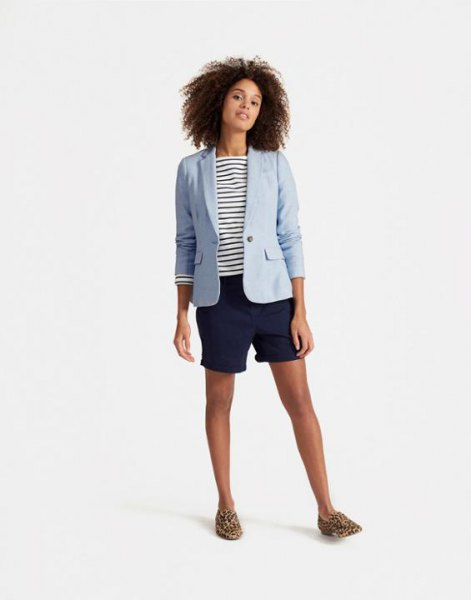 Light blue linen blazer with a dark blue and white striped t-shirt