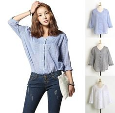light blue linen shirt without a collar with blue skinny jeans