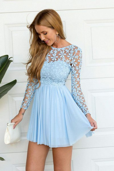 light blue long-sleeved fit and flared short pleated dress