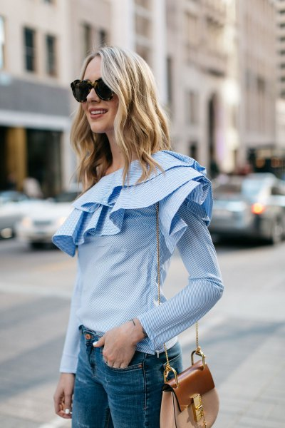 light blue long-sleeved ruffle blouse