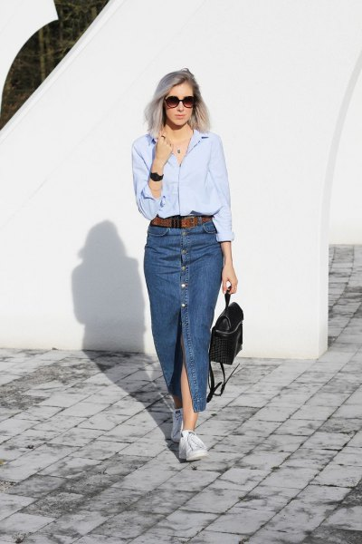 Light blue long-sleeved shirt with a long denim slit skirt