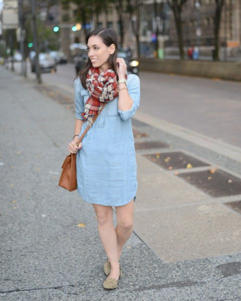 light blue mini shift dress with red and pink checked scarf