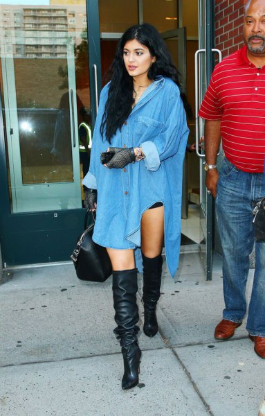 Light blue, oversized shirt dress with buttons and over-the-knee boots