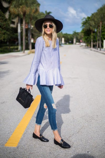 light blue peplum bell-sleeved blouse with black casual shoes