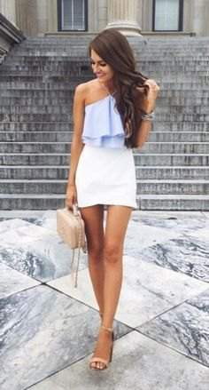 light blue top with ruffle halter and white mini skirt