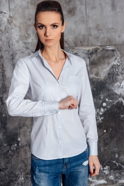 light blue striped slim fit shirt with straight legs