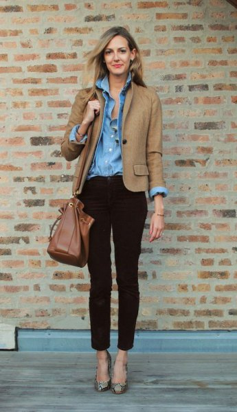 Light brown blazer with a blue chambray shirt with buttons and ankle cord jeans