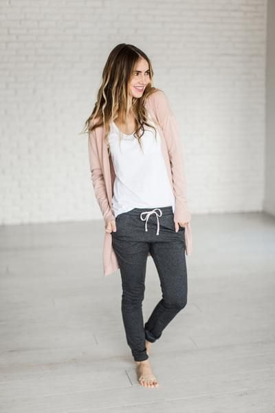 light brown cardigan with white tank top and gray jogger pants