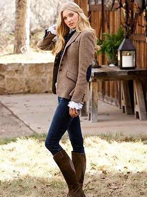 light brown patch elbow wool blazer with knee high gray boots