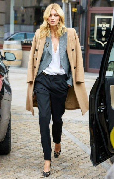 light camel long wool coat with black suit trousers