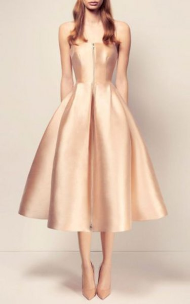 Light Gold Fit and Flare Spaghetti Strap Fit and Flare Midi Party Dress