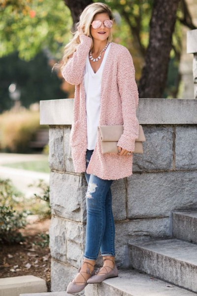 Light gold cardigan with a relaxed fit and a white V-neck t-shirt
