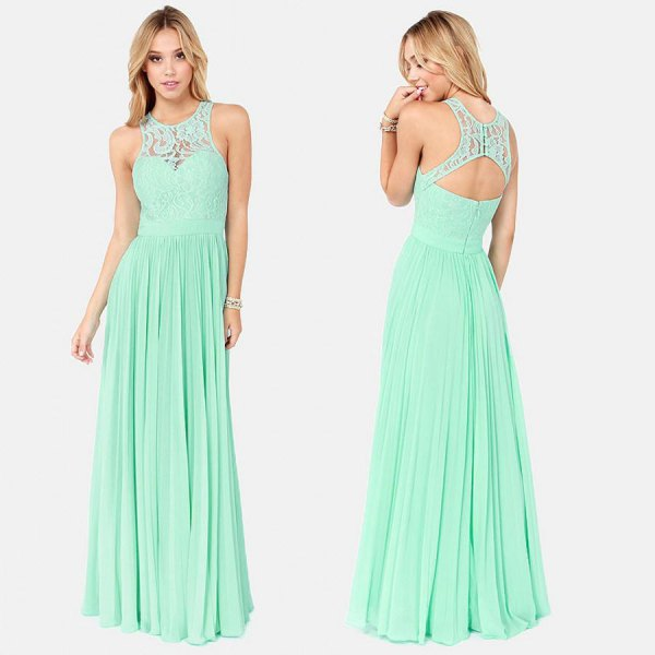 light green neckline at the back fit and flared bridesmaid dress