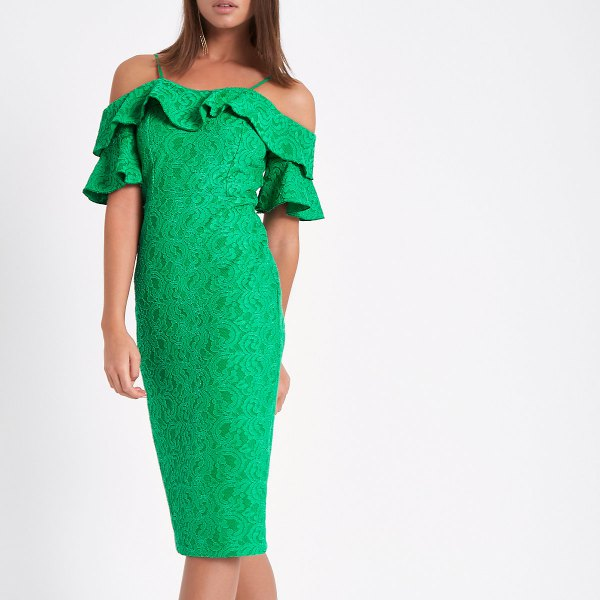 light green lace midi dress with frilled neckline