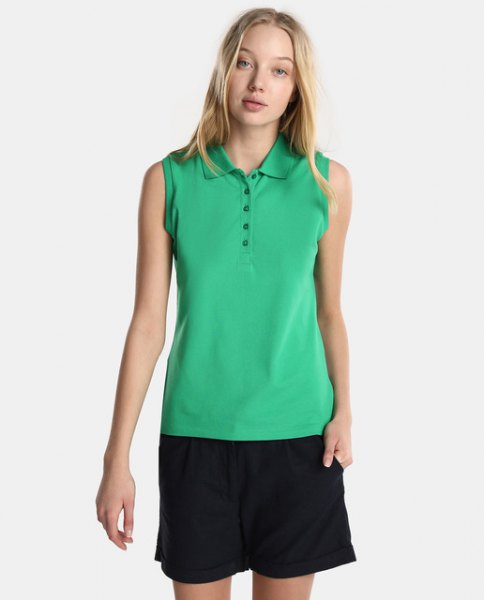 Light green sleeveless polo shirt with black, flowing shorts