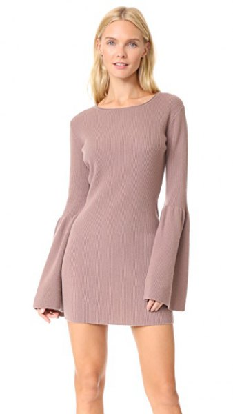 light gray mini cashmere dress with bell sleeves