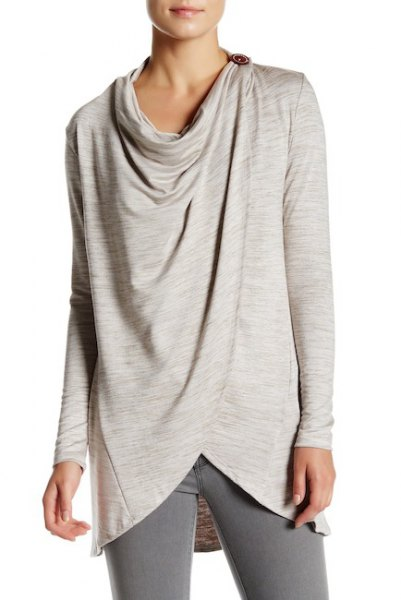 light gray wrap jacket with buttons
