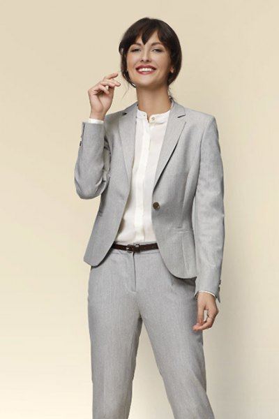 light gray casual jacket with collarless shirt
