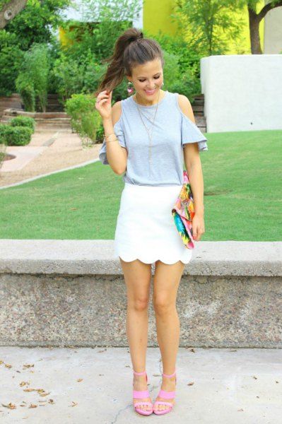 light gray cold shoulder top with white scallop shell