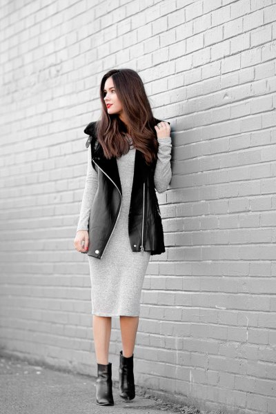 light gray cotton long-sleeved midi dress with long leather vest