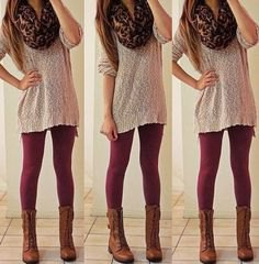 light gray crochet oversize sweater with a leopard print scarf and boots in the middle of the calf