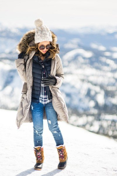 Light gray down jacket with black quilted vest