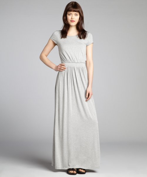 Light gray, ruched waist and flared knitted dress made of maxi jersey