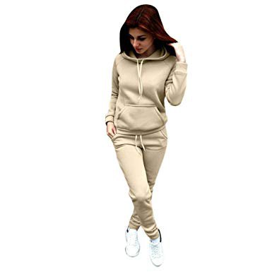 light gray hoodie with matching sweatpants