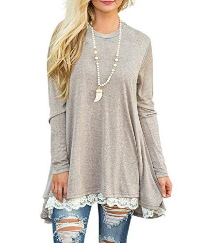 Light gray long-sleeved tunic T-shirt with scalloped hem and ripped skinny jeans