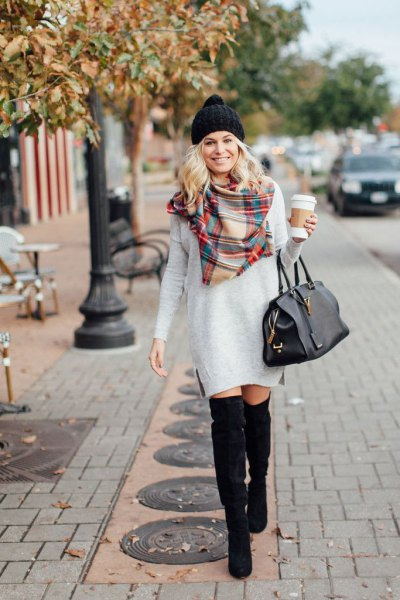 light gray long sleeve dress with red and light yellow checked scarf