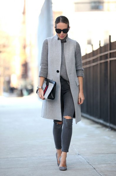 light gray knitted sweater with long vest