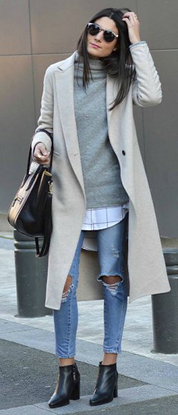 Light gray longline wool coat with a cashmere pullover with a waterfall neckline
