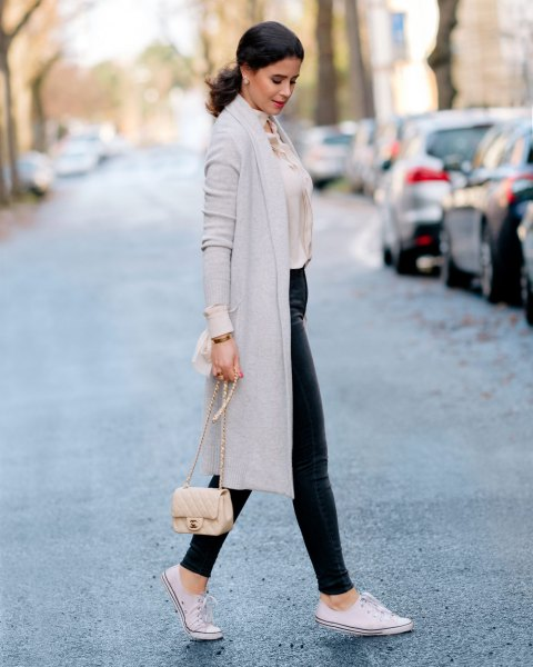 light gray midi cashmere cardigan with light pink blouse and leather pants
