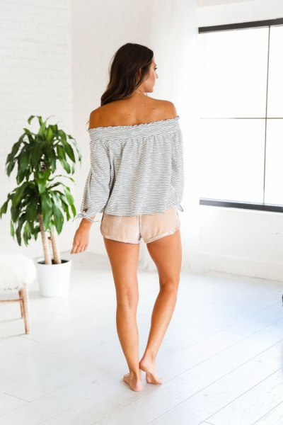 light gray strapless sweater in pink shorts