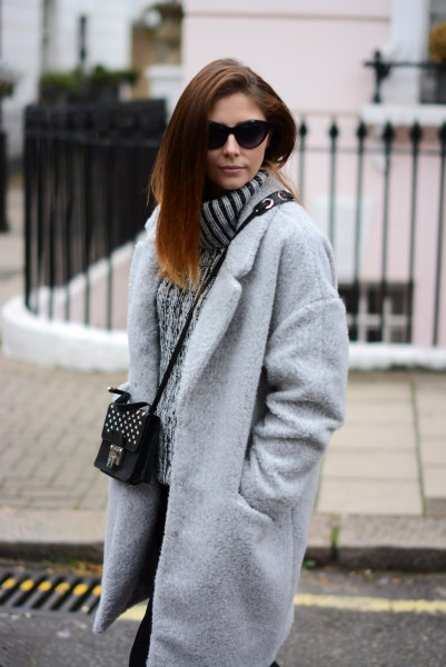 light gray oversized cocoon coat with ribbed, thick sweater